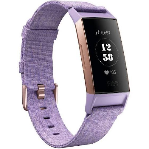 Fitbit Special Edition Charge 3 Heart Rate and Fitness Tracker Lavender Woven Large Band Rose/Gold Aluminum