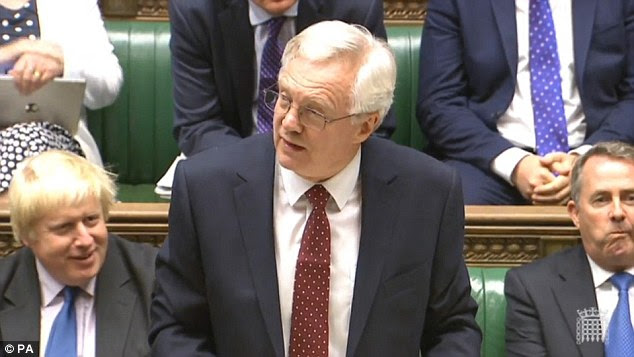 Post-Brexit plans: David Davis, who is Cabinet minister for Brexit, said the UK was prepared to quit the single market to regain control over borders. Pictured, Mr Davis in the Commons