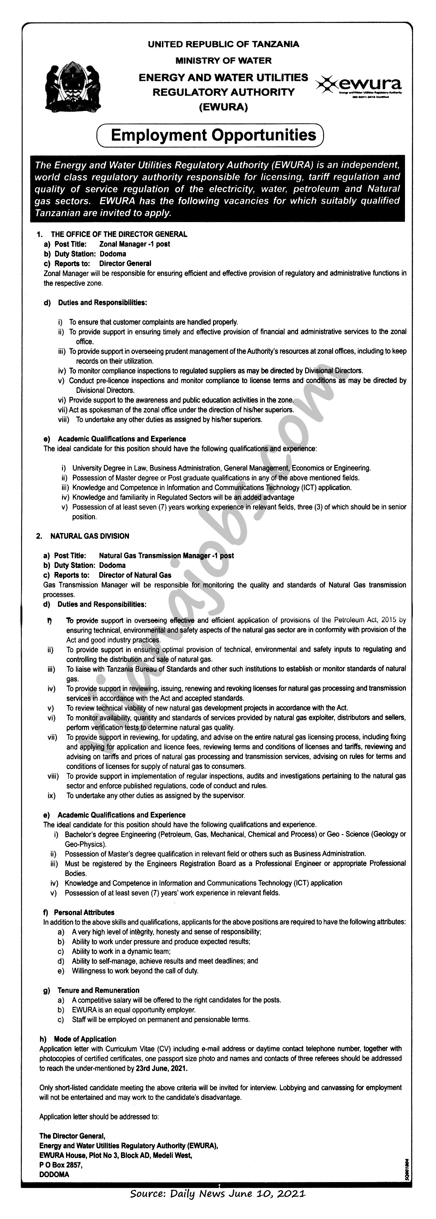 Zonal Manager, Natural Gas Transmission Manager