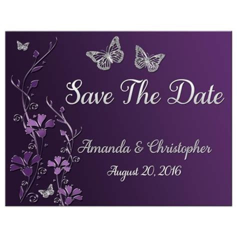 Wedding Save The Date Card   Purple, plum, Silver