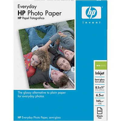 Hp Inkjet Everyday Photo Paper 100 Sheets 85 X 11 Inches Semi