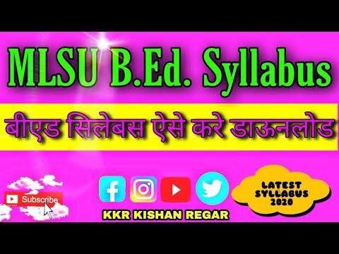 MLSU B.Ed. Syllabus