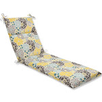 """72.5"""" Yellow, Blue and Gray Flor Grande Decorative Outdoor Patio Chaise Lounge Cushion by Christmas Central"""