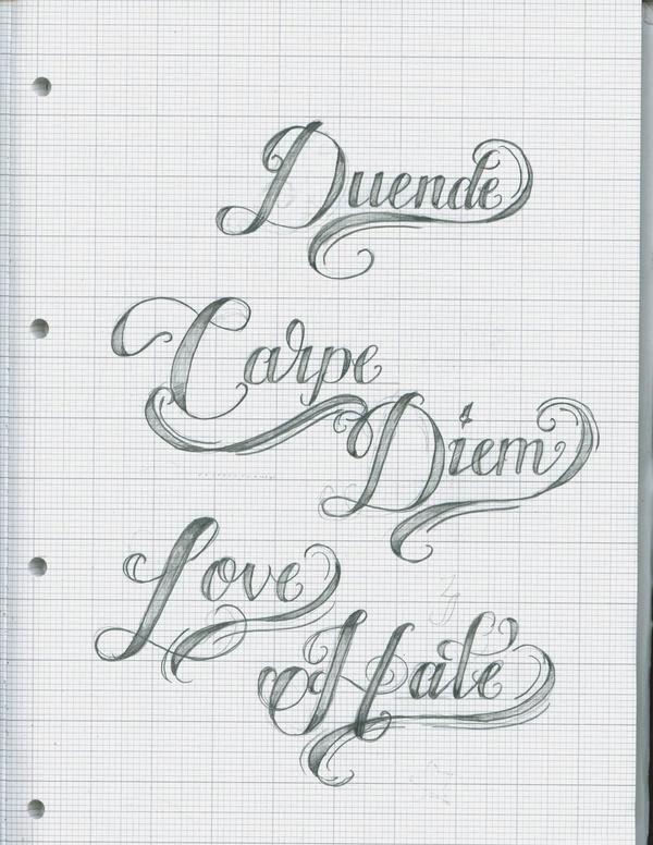 Tattoo Script Lettering 15 by ~12KathyLees12 on deviantART