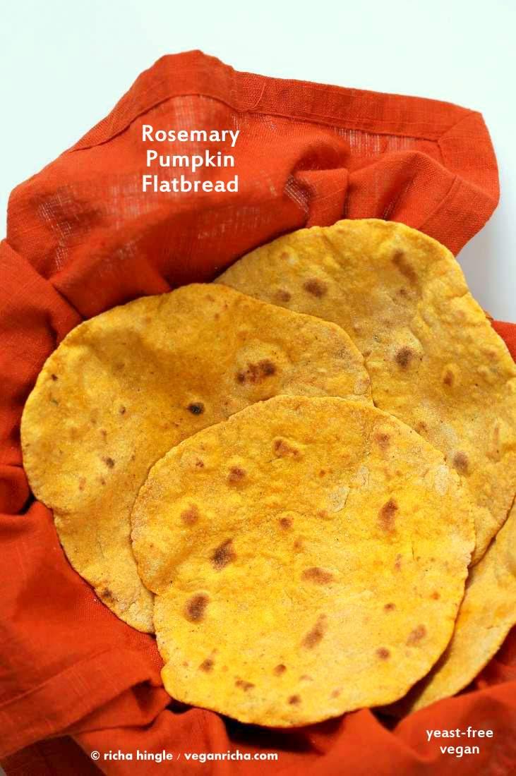 Rosemary Pumpkin Flatbread. Yeast-free - Vegan Richa