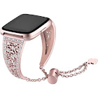 (Rose Gold Matches Rose Gold Watch) - bayite Hollowed-out Bling Bands Compatible Fits Fitbit Versa, Metal Bracelet Replacement Band Wristband Accessor