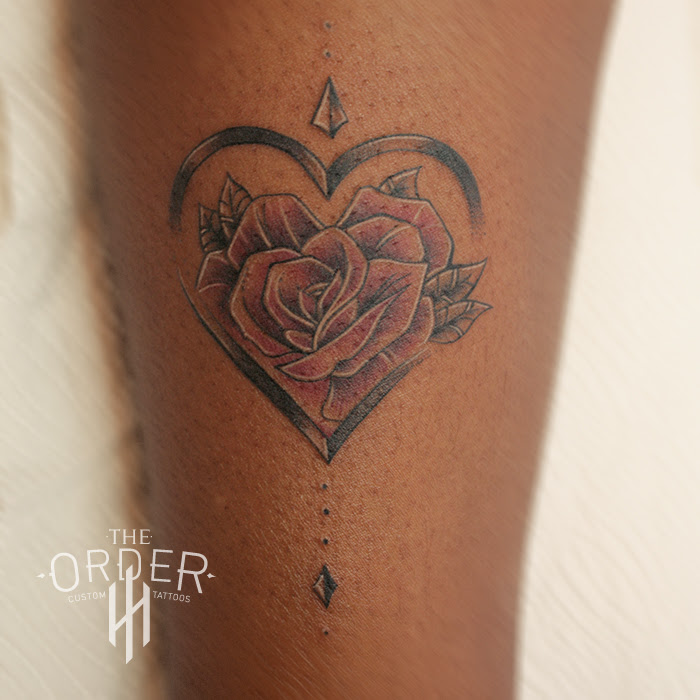 Neo Traditional Rose In Heart Tattoo The Order The Order Custom