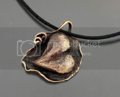 Chased Bronze Heart Pendant by The Leafylady
