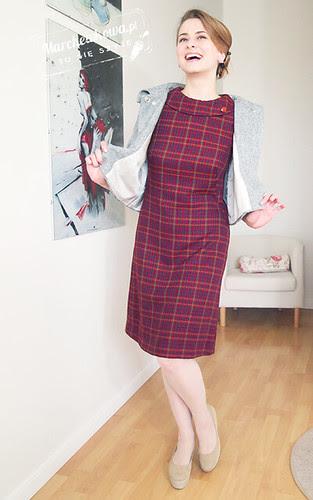 BBurda 9/2012, dress 108, marchewkowa, blog, szafiarka, szycie, krawiectwo, retro, moda, fashion, 60s, lata sześćdziesiąte, kołnierzyk, sukienka, kratka, wykrój, stylizacja, vagabond gaga, torebka z kokardą fablou, bursztynowy guzik, kolczyki różyczki