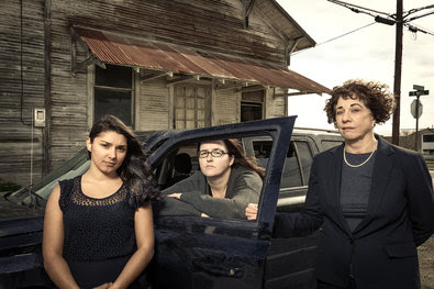 From left, Vanessa Sischo, Christina Brown and Barbara Hines in Karnes, Tex., where they have been advocating on behalf of detained immigrants.