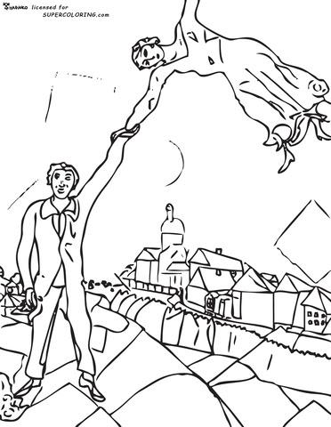 Disegno Di La Passeggiata Di Marc Chagall Da Colorare Disegni Da