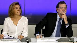 Maria Dolores de Cospedal i Mariano Rajoy, aquest dilluns al comitè executiu del PP (EFE)