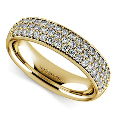 Three Row Pave Diamond Wedding Ring in Yellow Gold