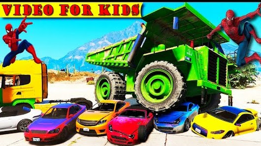 Spiderman Disney Cars Lightning McQueen FUN DUMP TRUCKS (Nursery Rhymes - Car...
