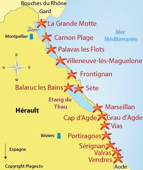 Carte des stations balnéaires de l'Hérault