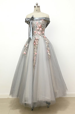Light grey tulle off shoulder flower lace long prom dress, bowknot A-line bridesmaid dresses from QPromdress
