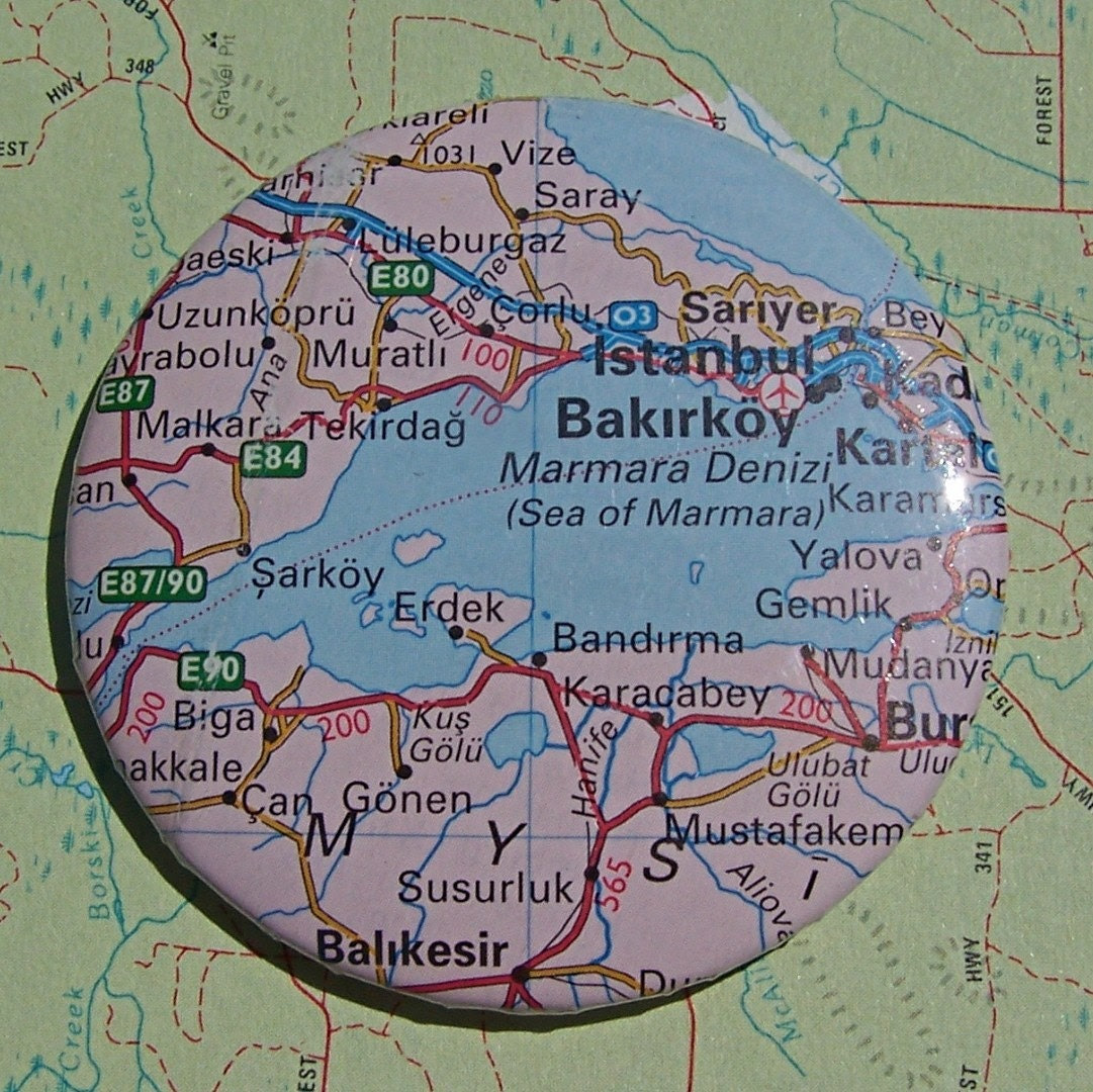 Recycled road map pin - Istanbul was once Constantinople - Turkey