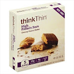 ThinkThin High Protein Bars, Creamy Peanut Butter - 5 pack, 2.1 oz each
