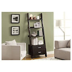 "Monarch Specialties Bookcase Ladder With 2-storage Drawers Cappuccino 69""h"