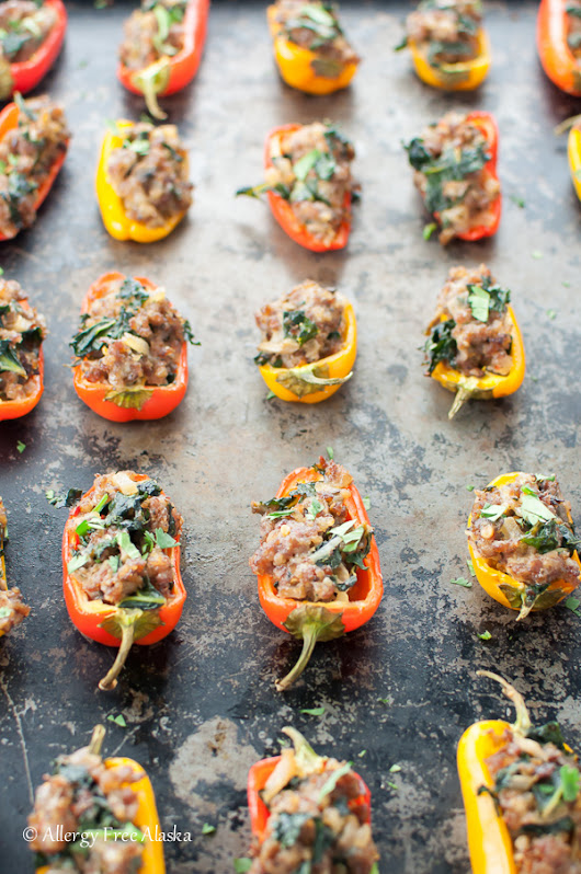 Sausage Stuffed Mini Peppers with Kale - Allergy Free Alaska