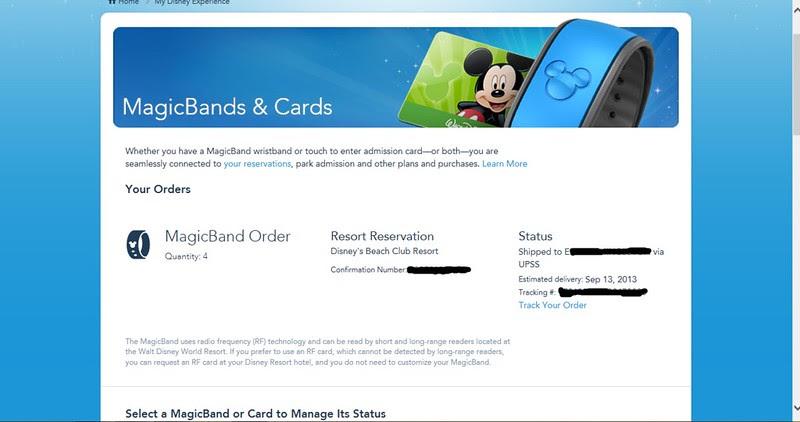 Magic Bands-order confirmation