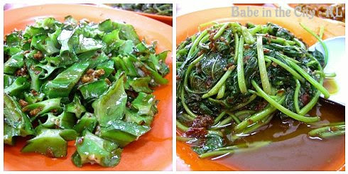 L - Stir fried four angled beans (RM10) R - Stir fried sambal belachan sweet potato shoots