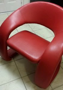 Nouvelle Modern Design Ruby Red Leather Accent Chair