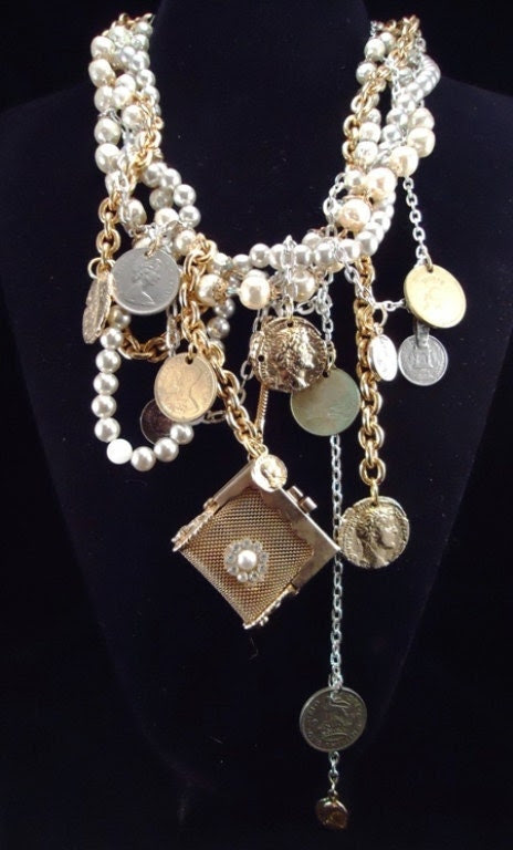 Penny For Your Thoughts - Assemblage Necklace - Vintage-Heaven