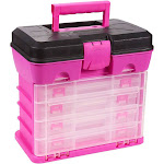 Tool Box - Organizer Box - Includes 4 13-Compartment Slideout Containers - Perfect for Storing Tackle, Craft Accessories, Nuts and Bolts, Pink, 10.5 X