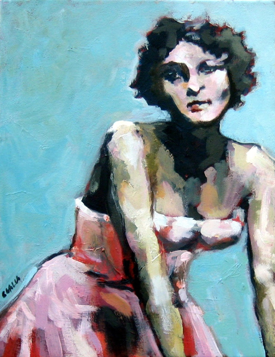 Woman in a Pink Dress Tour Girl Large Giclee Print From Original Oil Painting