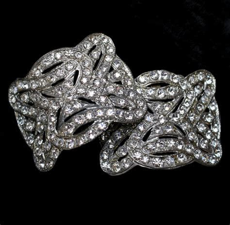 VINTAGE Antique French Paste RHINESTONE Shoe BUCKLES Clips