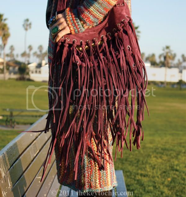 Forever 21 maxi sweater, fringe handbag, Los Angeles fashion blogger