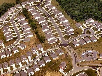 Very low (auto-oriented) density suburban development near Cincinnati, Ohio, United States
