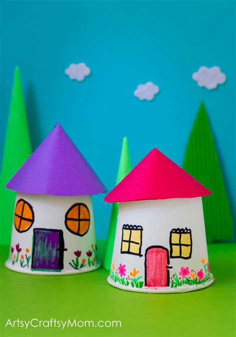 paper cup miniature village craft  cup crafts cup