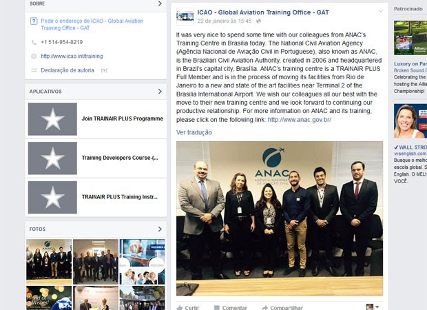 ICAO postou no Facebook que esteve no Brasil em janeiro de 201 e apoia a mudança de sede do centro de treinamento da Anac para Brasília (Foto: Facebook/reprodução)