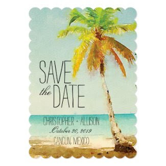 "Watercolor Palm Tree | Save the Date 5"" X 7"" Invitation Card"