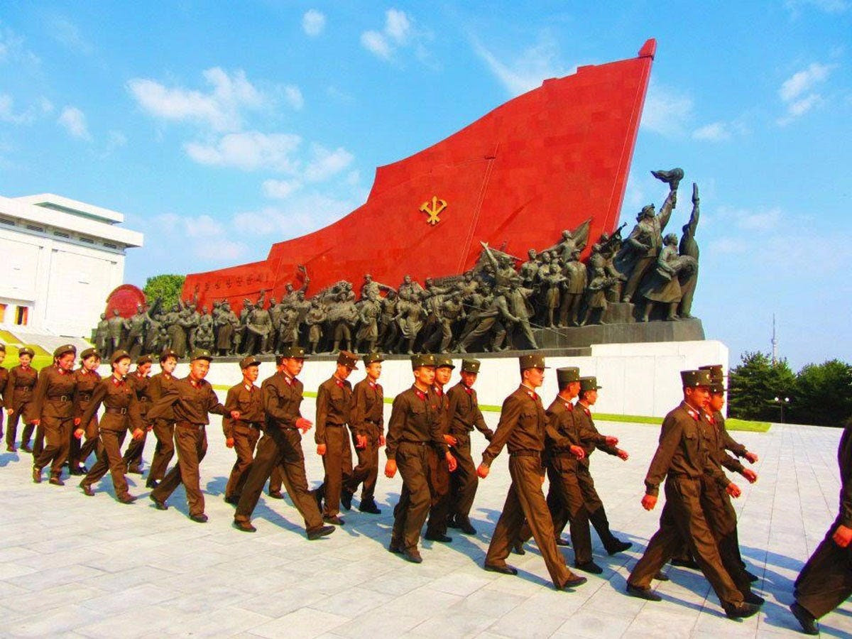 Justin and Anna said that there are two things you would never miss in North Korea: massive monuments and military personnel.