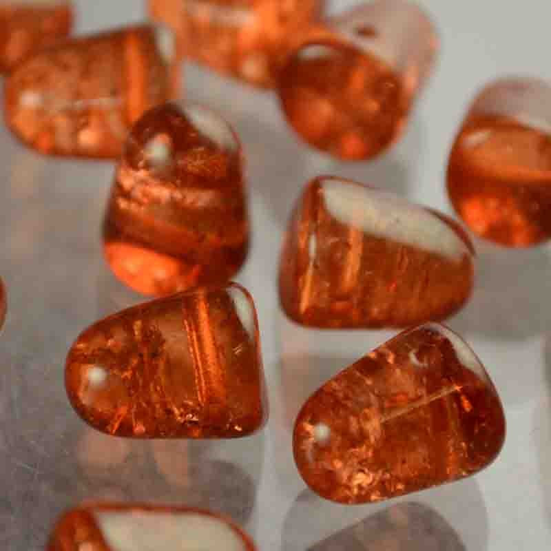 """s42440 Glass Beads - 10 mm Gumdrops - Cracked Mandarin (6) - <font color=""""#FF0000"""">Discontinued</font> - 70% off!"""