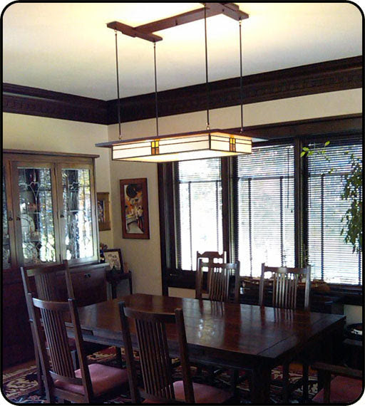 Prairie Style Light Fixture in Dining Room
