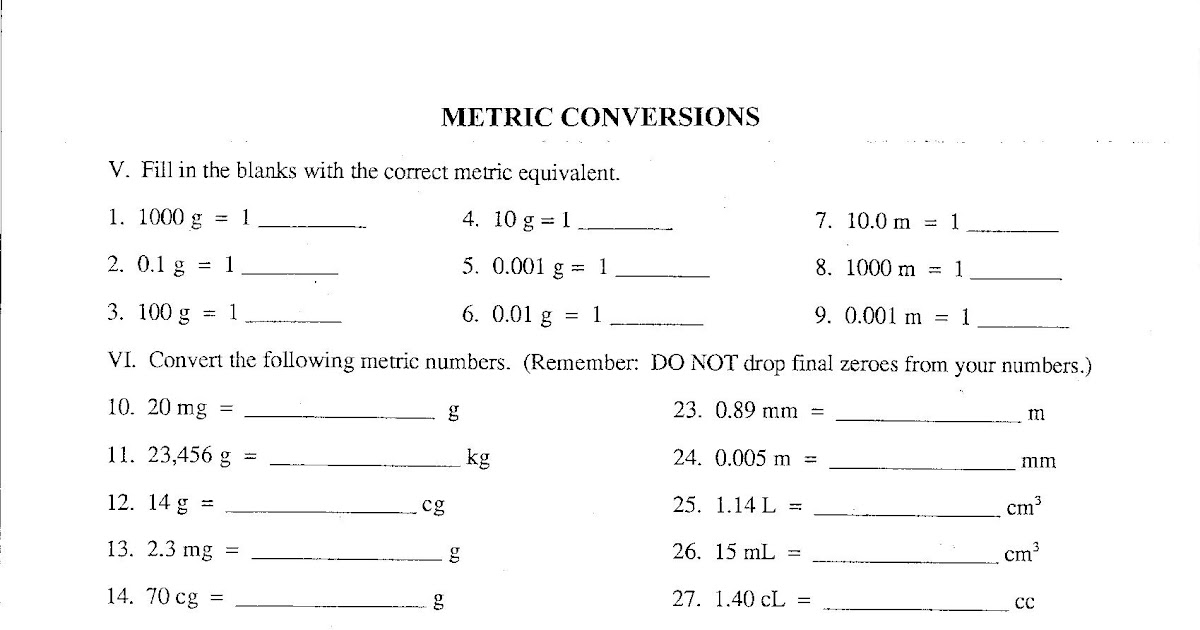 71 FREE DOWNLOAD PRACTICE WORKSHEETS METRIC CONVERSION ...
