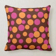 Chocolate Bouncing Dots Pillow throwpillow