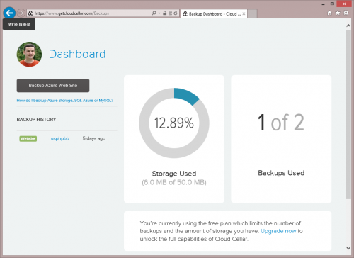 Cloud Cellar Backup Dashboard