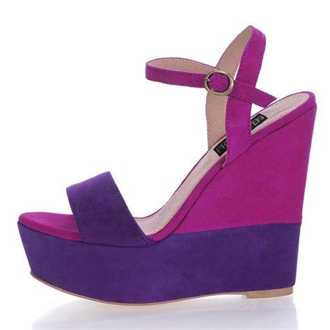 Wedge Heel Open Toes Buckle Purple Wedding Shoes Heels