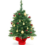 Best Choice Products Tabletop Pre-Lit Christmas Tree, Green/Red