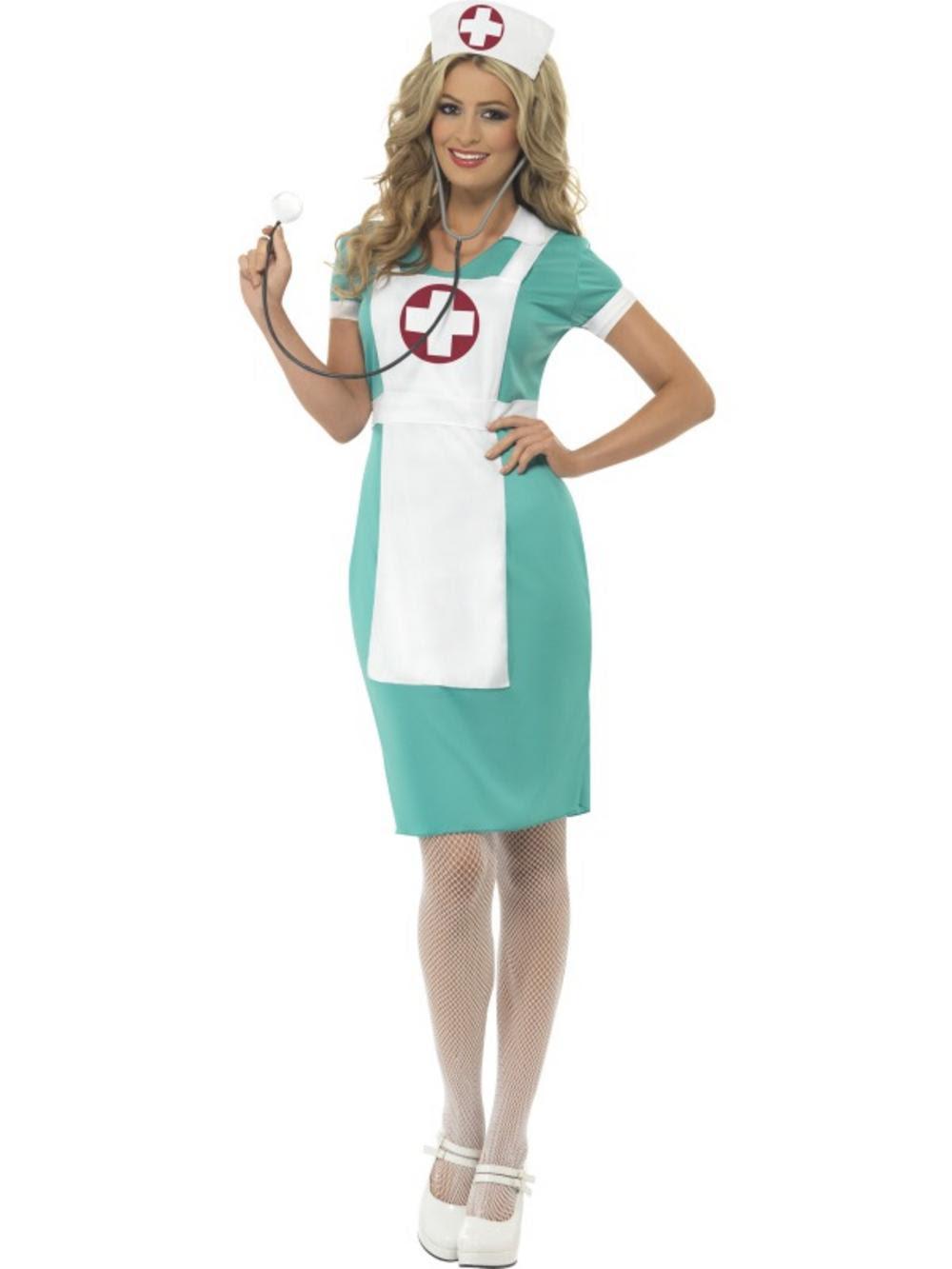 adult scrub nurse fancy dress costume doctor er ladies