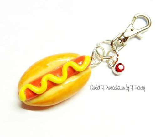 Cold Porcelain Clay Hot Dog Purse Charm Hot Dog Clay Charm