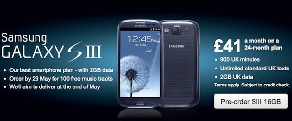 Samsung Galaxy S III up for pre-order in the UK from Vodafone, O2 and Three