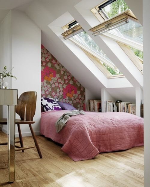 Under eaves bed with skylights