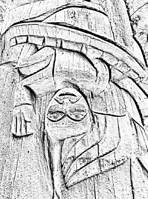 high contrast image of totem pole, Kasaan, Alaska