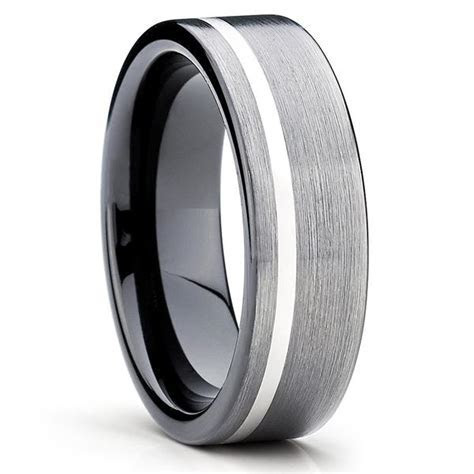 Black Tungsten Wedding Band   Gunmetal Ring   Tungsten
